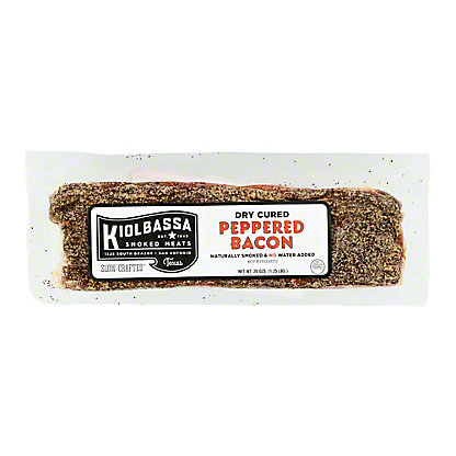 Kiolbassa Dry Cured Peppered Bacon Thick Sliced, lb
